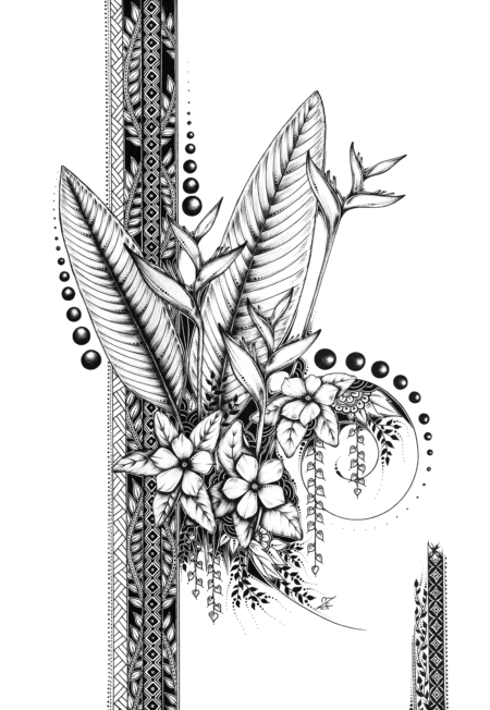 Heliconia & Perwinkles - Original Drawing 42cmx30xm - Sold
