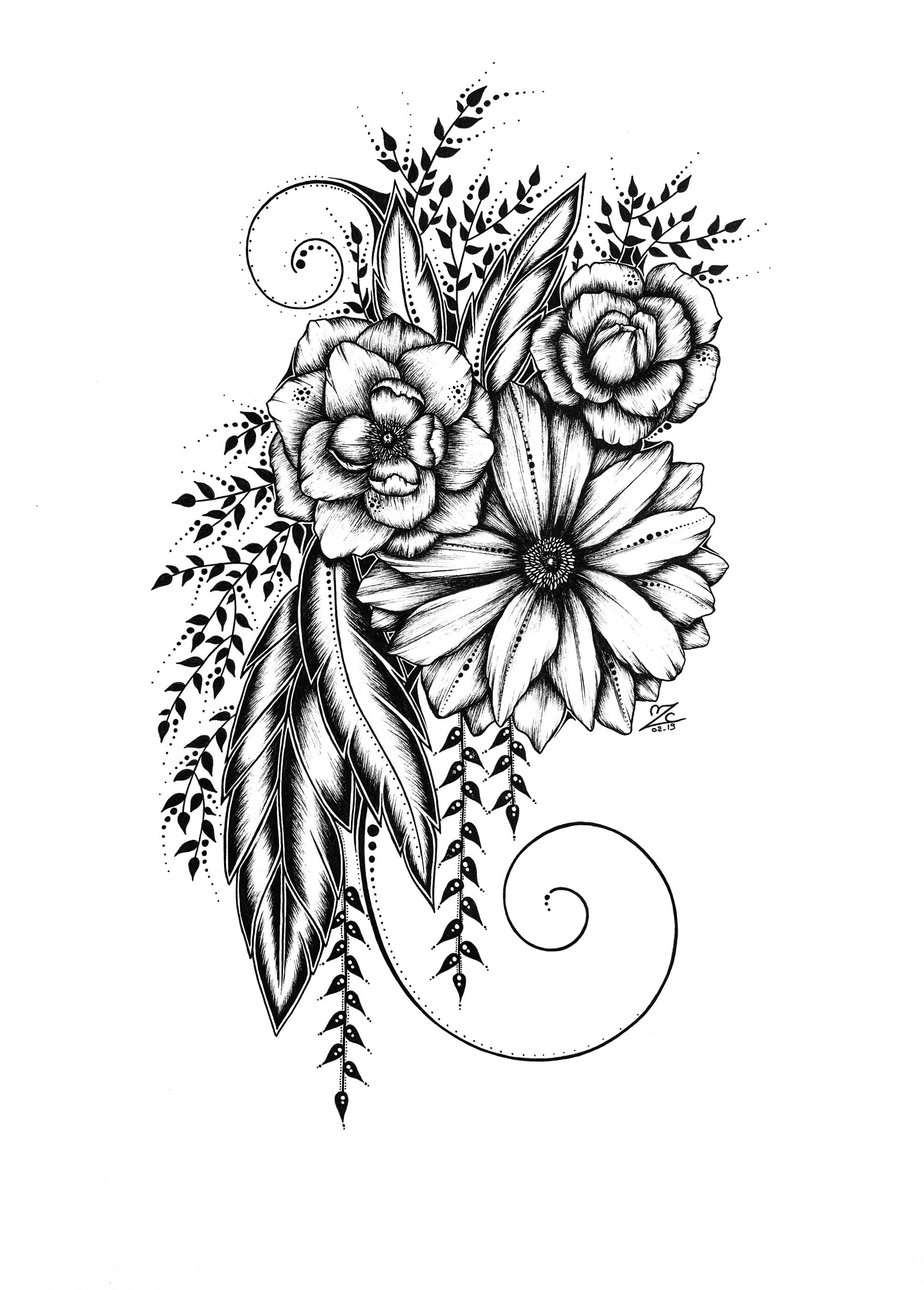 Floral Composition- Original Drawing 29,7cmx21cm - 250€