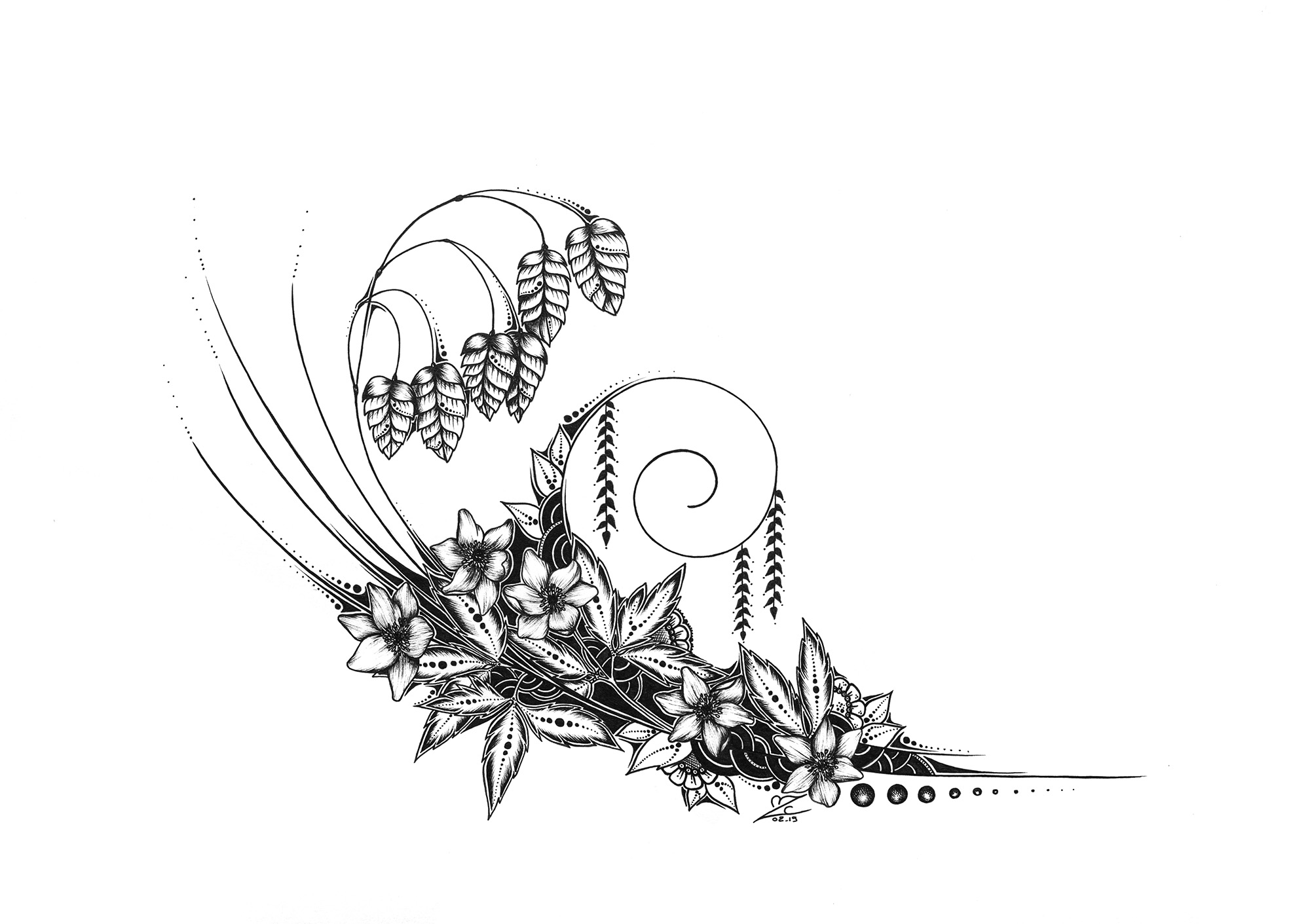 Anemone&Briza- Original Drawing 29,7cmx21cm - 220€