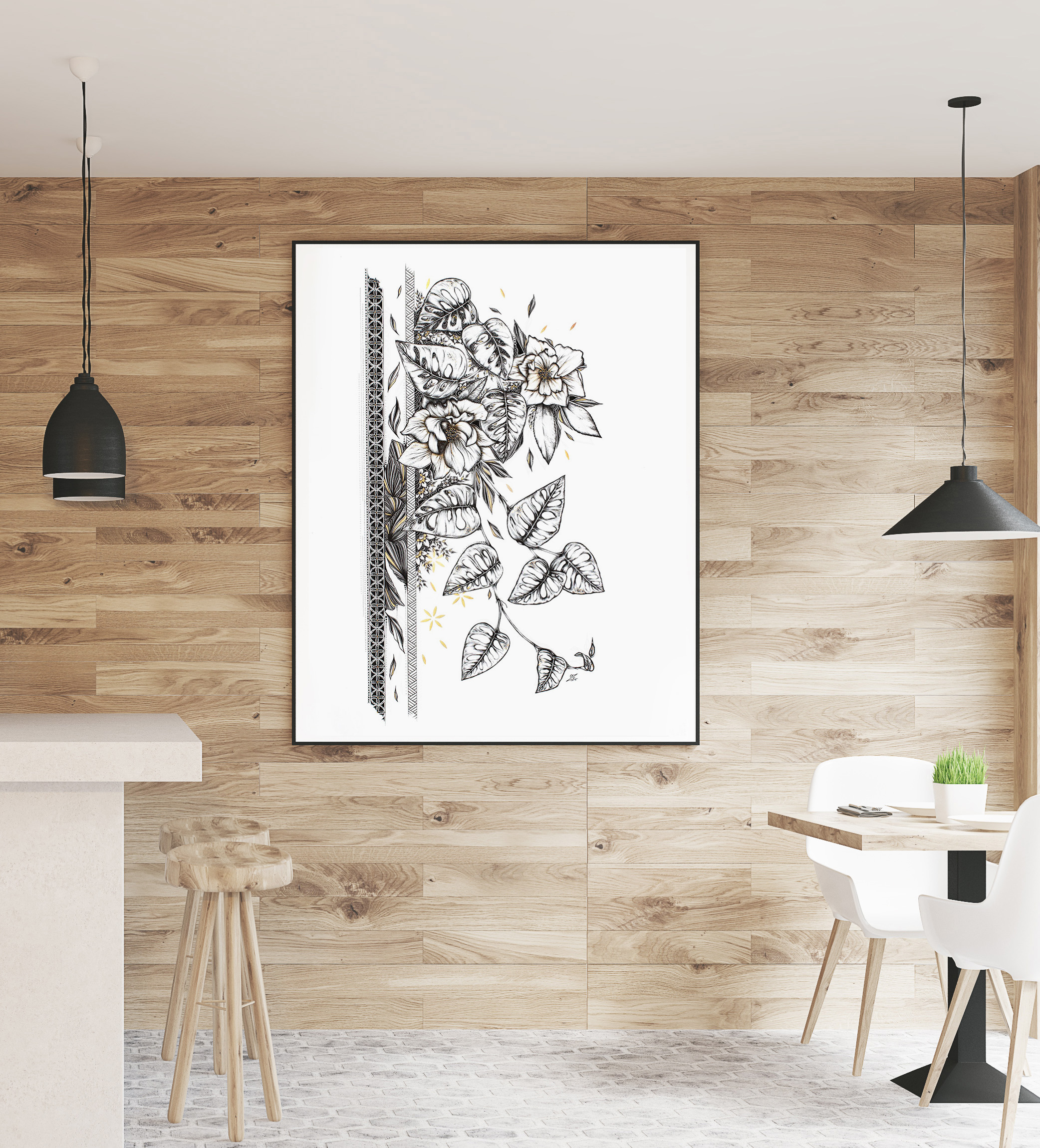 Monstera adansonii – Original Drawing 50cmx70cm – 963€