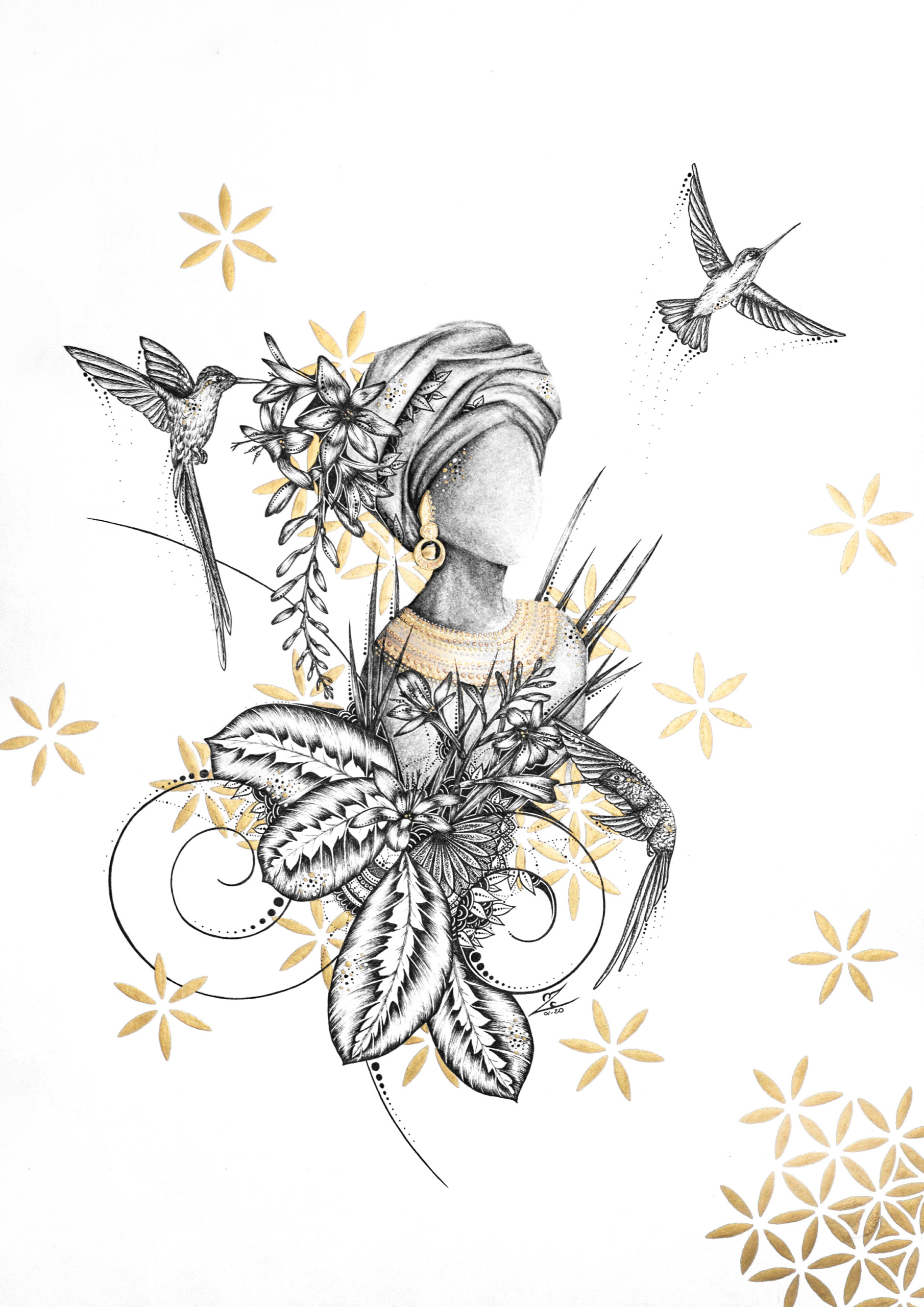 La Demoiselle aux Colibris - Original Drawing 29,7cmx42cm - 500€